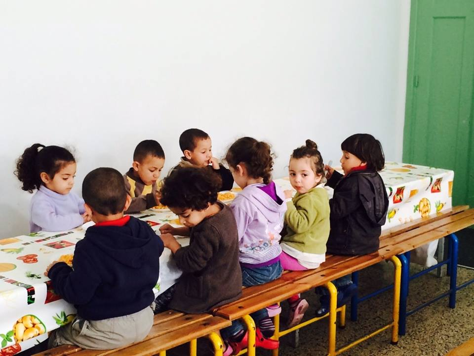 Children playing at childcare center in Morocco