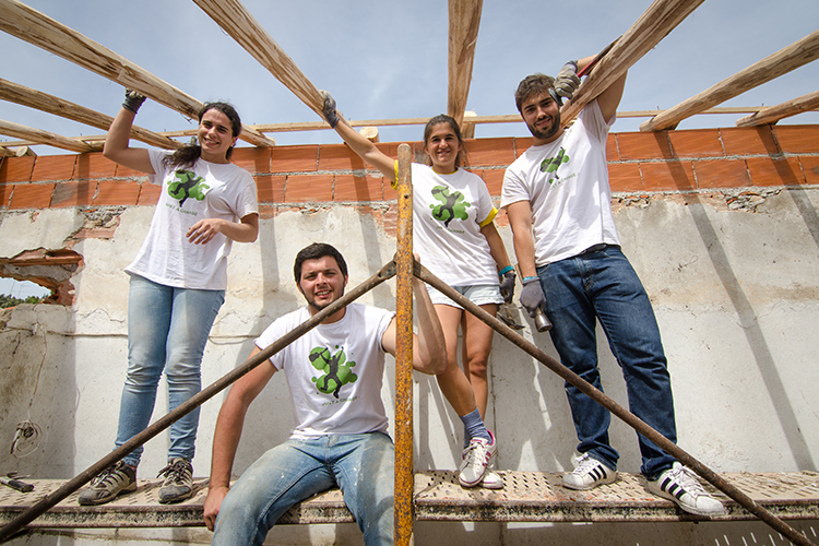 Volunteer group involved in Building Project in Portugal>