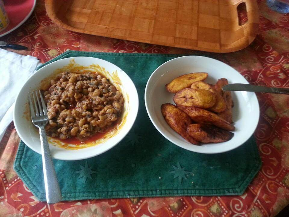 A typical Ghanaian meal