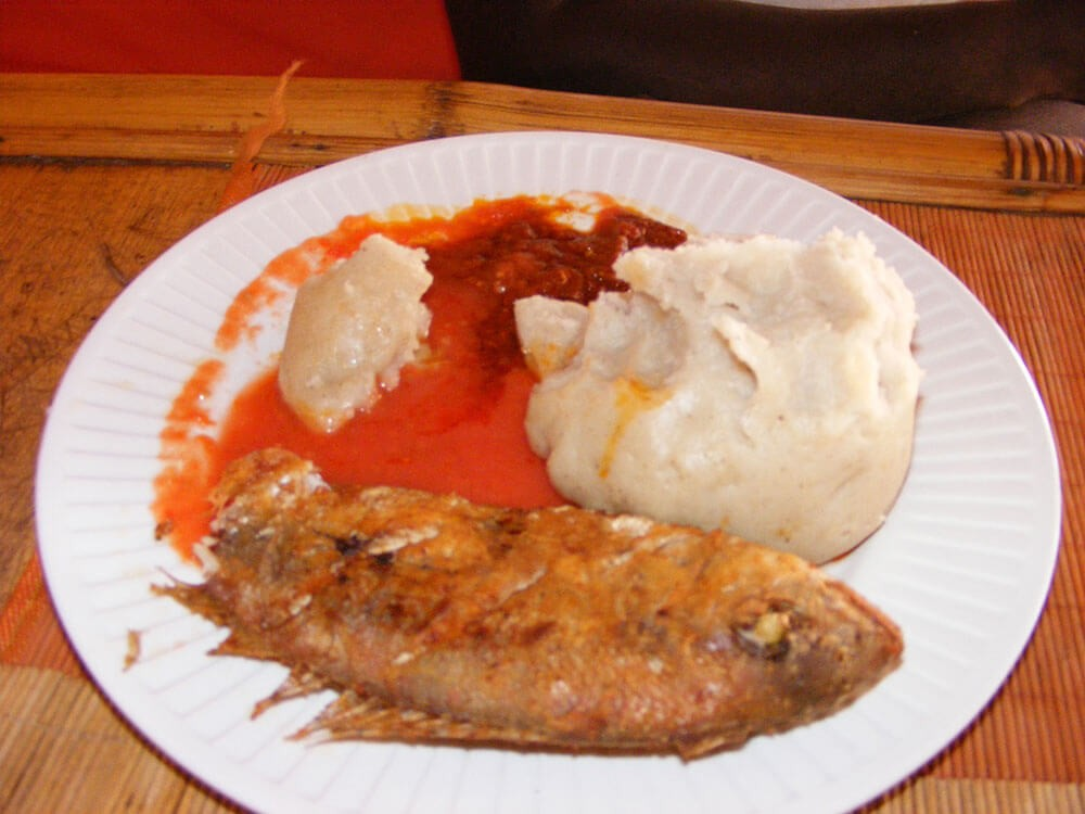 Typical Ghanaian meal