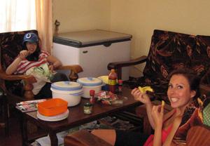 Volunteers having fun time at the volunteer house in Arusha