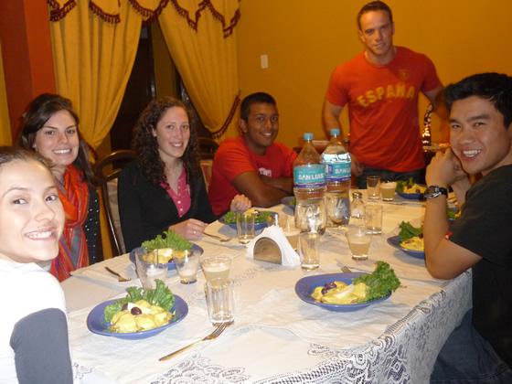 Volunteers enjoying Peruvian food at their homestay in Cusco