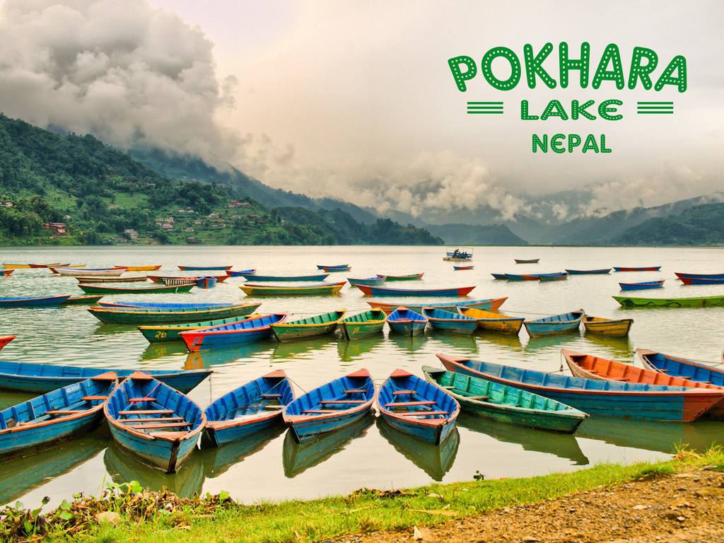 Pokhara lake in Nepal