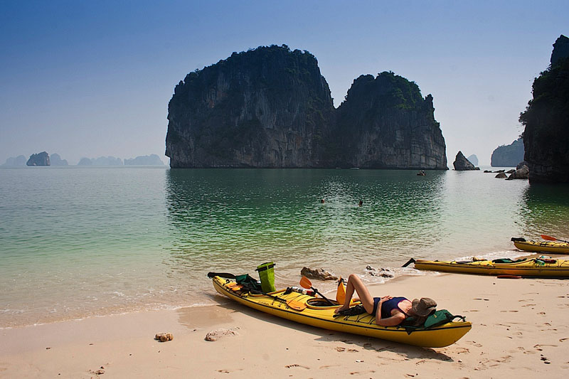 beache at Ha Long Bay in Vietnam