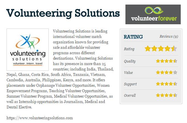 Volunteering Solutions Reviews on Volunteer Forever