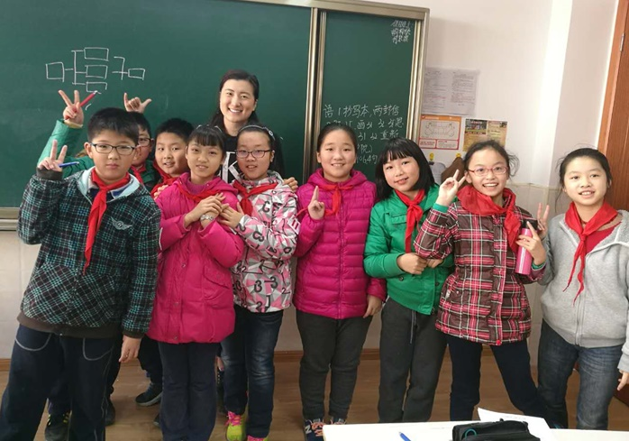 Christina Li while volunteering in China