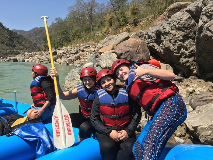 Helen while river rafting at Rishikesh