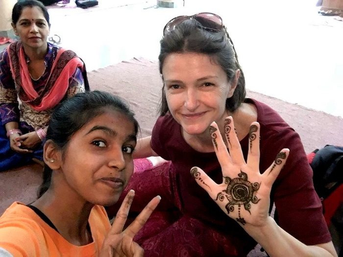Helen with kids in India