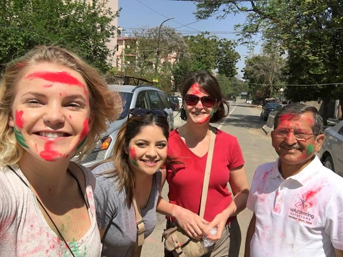 Holi celebration in India with volunteers
