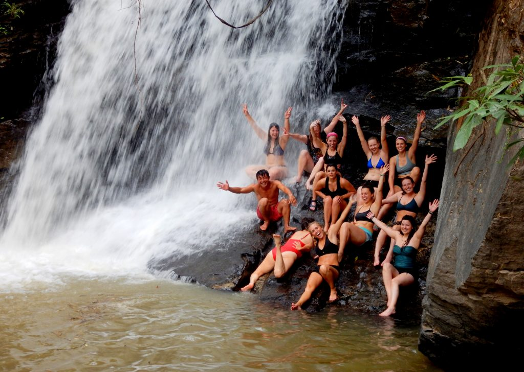 cool yourself down under a waterfall