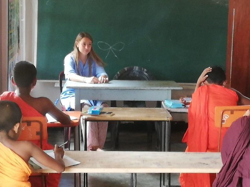 Buddhist Monk Teaching in Sri Lanka